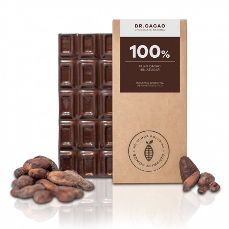 "Chocolate 100 % sin azucar ""Dr. Cacao"" x 70 grs"