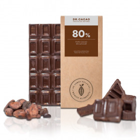 """Chocolate 80 % sin azucar c/ Xilitol """"Dr Cacao"""" x 70 grs"""