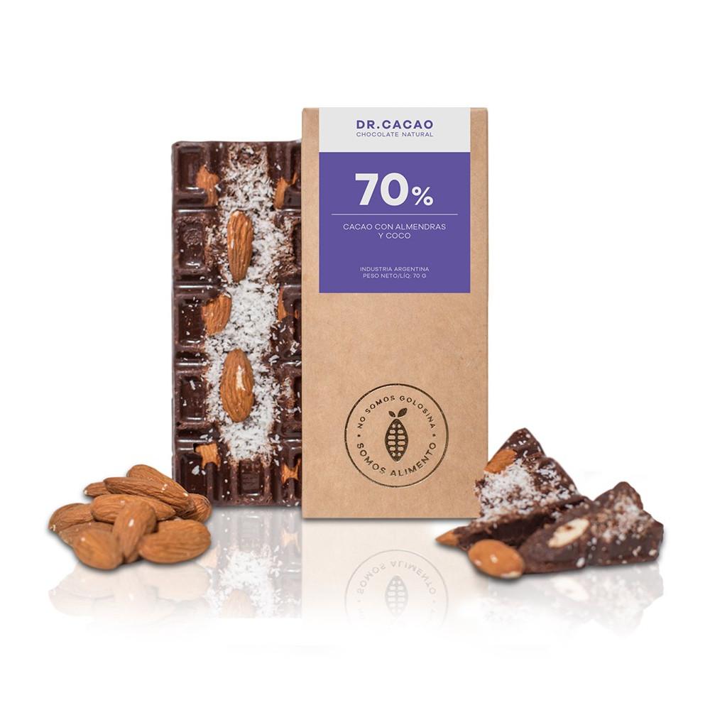 """Chocolate con Almendras y Coco """"Dr. Cacao""""  x 70 grs"""